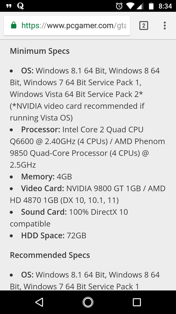 gta 5 pc specifications