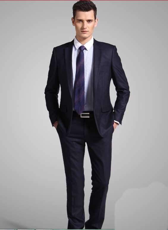 Navy suit jacket with black pants