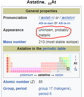 What is the craziest element in the periodic table quora heres what wikipedia has to say about astatine nobody knows what it looks like and its probably metallic in appearance urtaz Gallery