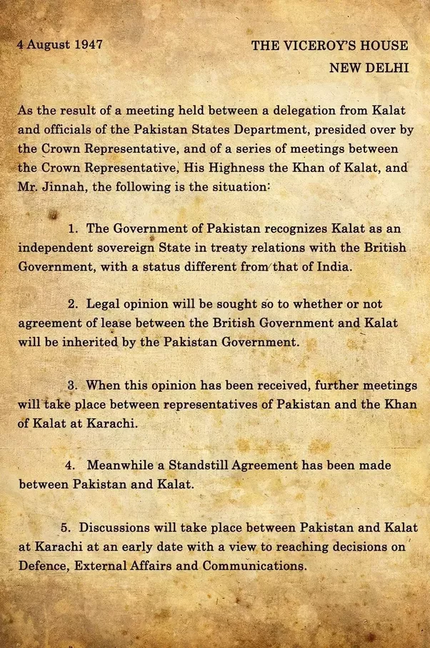How could maharaja hari singh who was a monarch decide what the copy of standstill agreement by khan of kalat and pakistan in 1947 platinumwayz