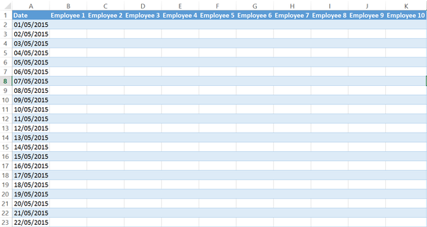 I want to create a monthly shift schedule for my office in MS Excel