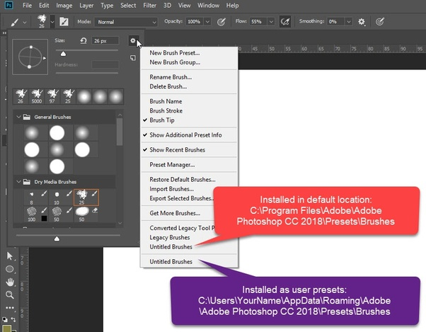 Where do I manually install patterns and brush sets in Adobe