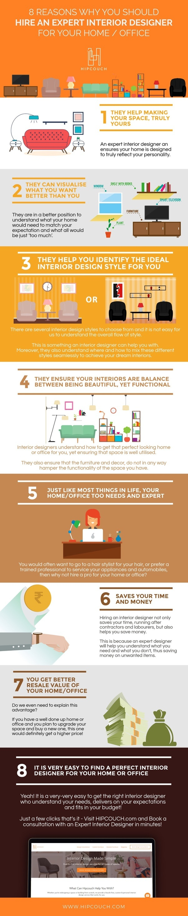 The infographic below gives you a more visual guide as to why hiring an interior designer is good for you and your home.