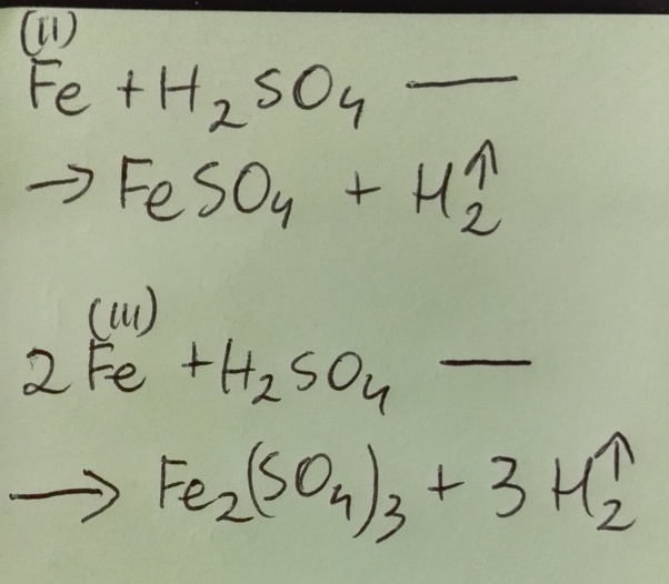 What Is The Chemical Equation For Iron And Sulphuric Acid Quora