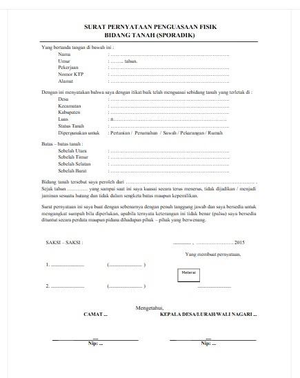 Surat Keterangan Penguasaan Tanah Secara Sporadik Contoh Seputar Surat
