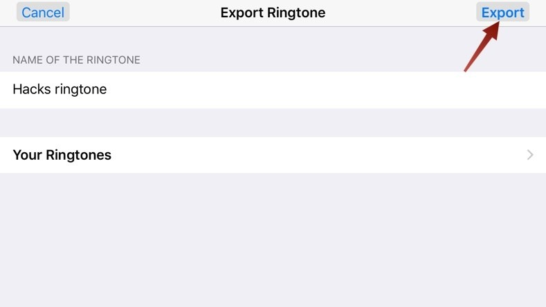 When finished exporting tap Use Sound As, and select the option for when you want to hear the ringtone in the following menu.