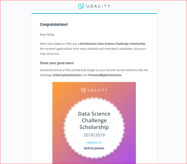What is the best way to get a scholarship from Udacity now
