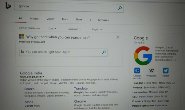 "What Happens When You Search For ""Google"" In A Bing Search"