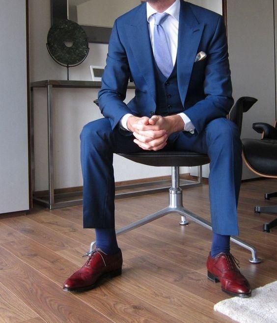 Blue Suit Walnut Shoes