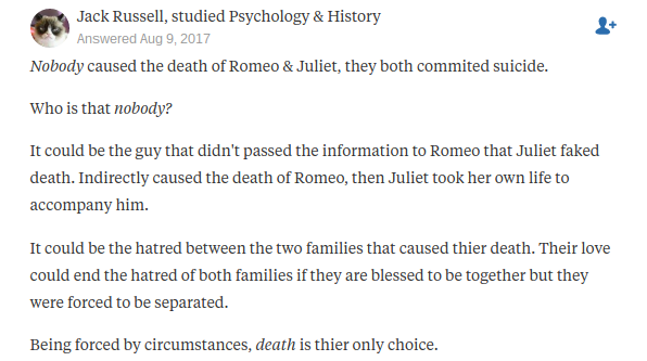 who ultimately caused the death of romeo and juliet quora