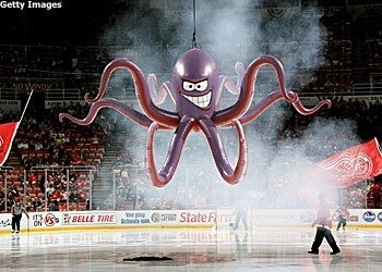 Why do fans throw an octopus on the ice during hockey games and what as you can see the red wings have turned this practice into an iconic giant symbol voltagebd Images