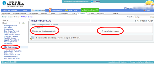 How to apply for a new debit card in sbi quora step 5 click on using one time password otp now you will get an otp in your sbi registered mobile number thecheapjerseys Gallery