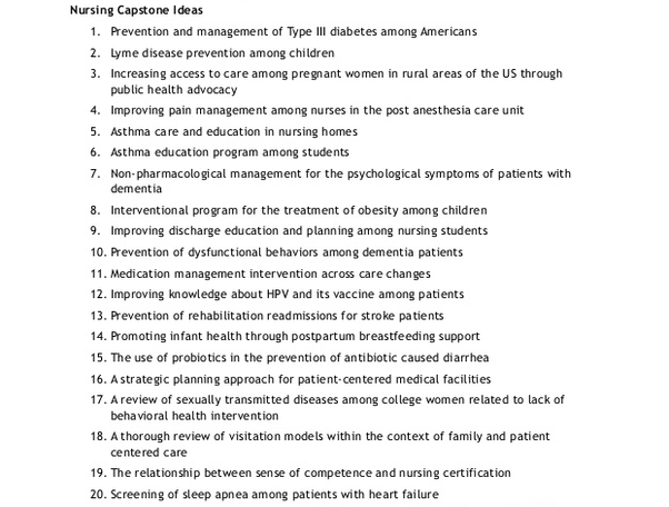 What Are The Easiest Nursing Capstone Projects Quora