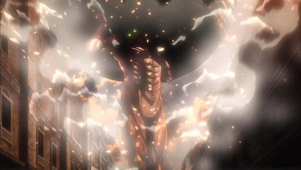 In The Attack On Titan Anime Manga Why Didn T Eren In His Titan Form Roll The Giant Rock Instead Of Carrying It Quora