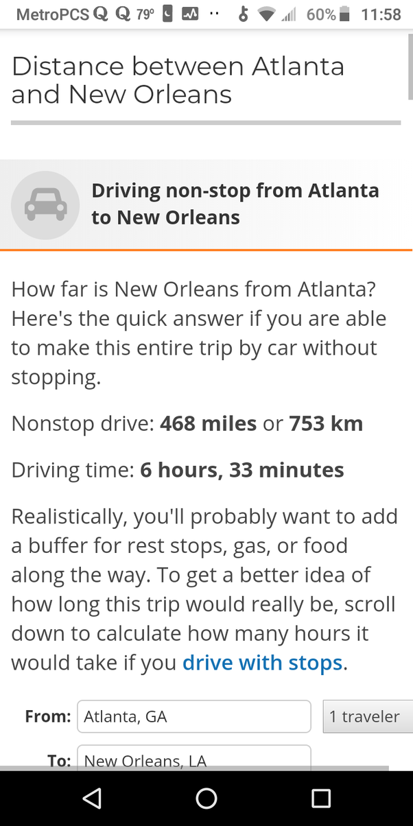 How Many Miles Are There From Atlanta Georgia To New Orleans Quora