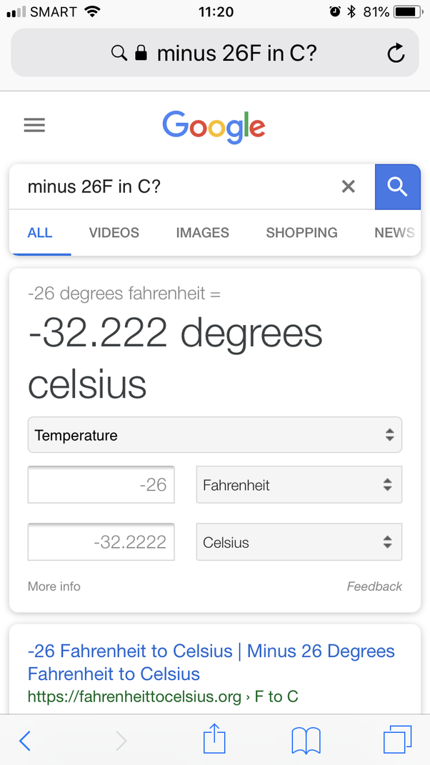 What Degrees Is It Outside >> The Weather Outside Is Of Temperature 26 F What Is The