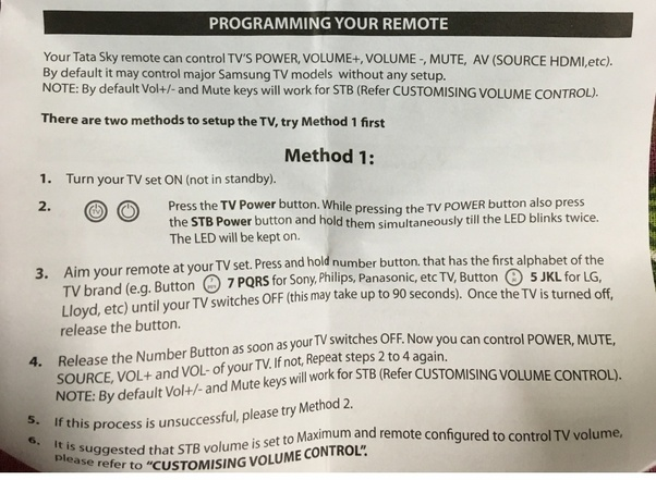How to put the new Tata Sky HD remote in programming mode for