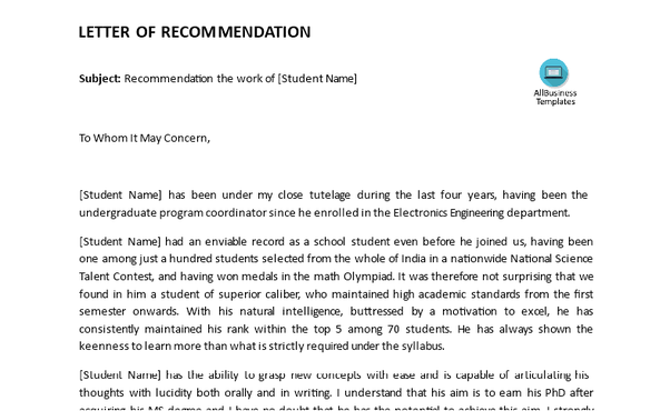 check out an example letter of recommendation for student in engineering