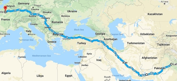 I want to travel from new delhi to paris via road is it possible india pakistaniranturkeybulgariaserbiahungaryaustriaczech republicgermanyfrance gumiabroncs Image collections