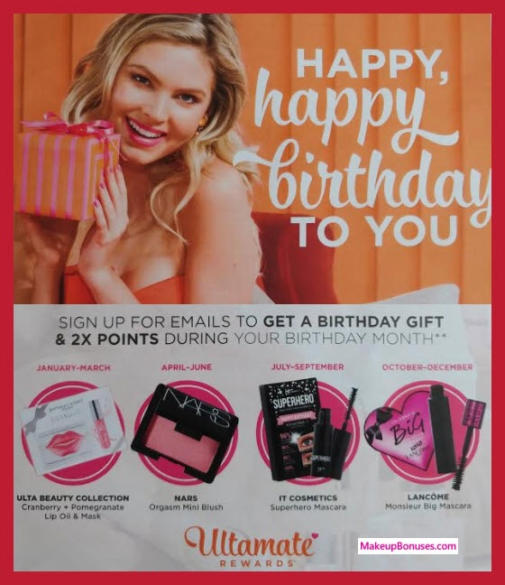 The points can be used towards purchases at ULTA. For example, use 100 points to get $3 off, use 1000 points to get $50 off, use 2000 points to get $125 off ...