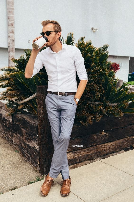 Which Type Of Shoes Match A White Shirt And Formal Grey