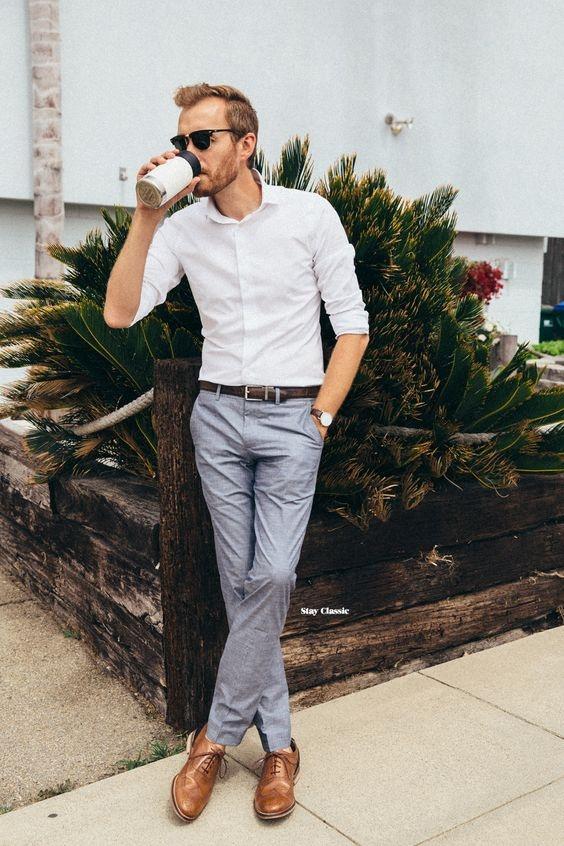 black shirt grey pants brown shoes