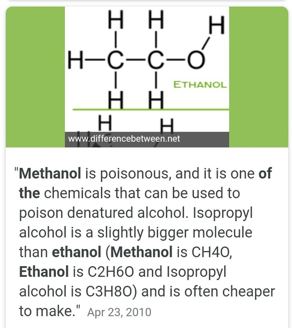 Methanol Vs Ethanol >> What Is The Difference Between Methanol And Ethanol Quora