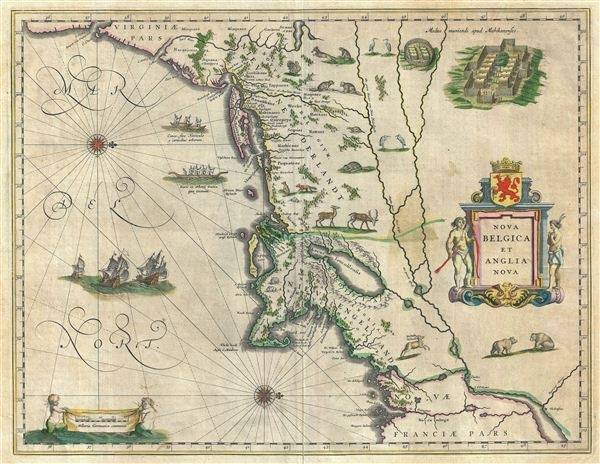 How did sailors make such accurate maps of newly discovered 1638 blaeu map of new england and new york 1st depiction of manhattan as an island gumiabroncs Choice Image