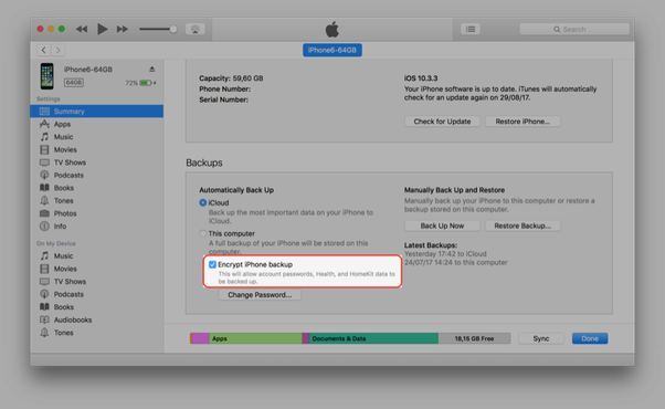 How to check if iphone is backed up on computer