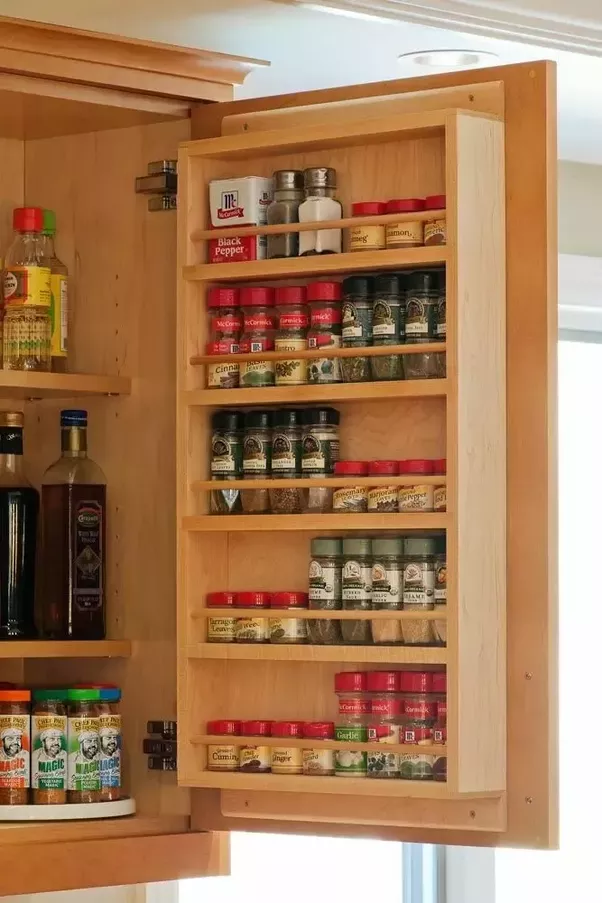 shelves for spices in cabinet