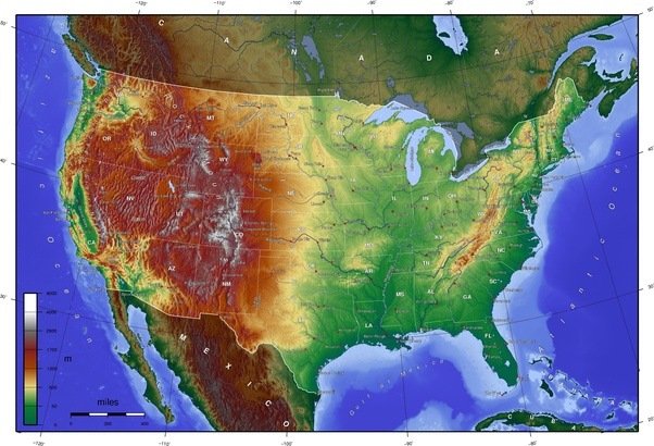 What important things does a topographic map of America demonstrate