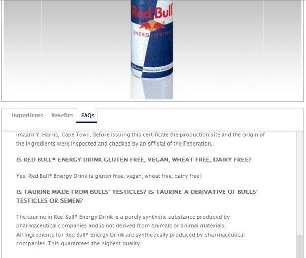Is That True The Redbull Contains The Bulls Sperm? Please