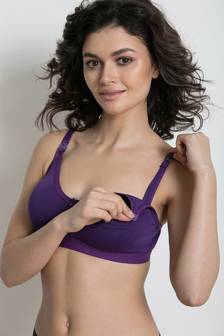 2a59a2017 Seamless Moulded Double Layer Nursing Bra- Purple