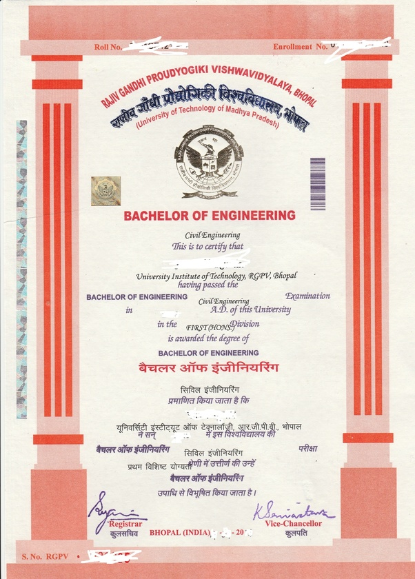 How does the final degree certificate (engineering) of UIT