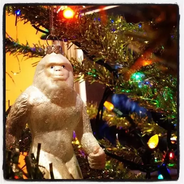 this stupid ornament is ideal for believers in bigfoot and also the legendary creature bigfoot is all knotted up in christmas lights and golf shot a cause - Bigfoot Christmas Ornament
