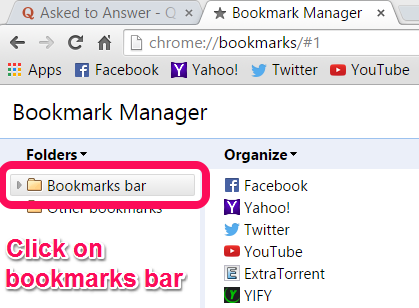 What is the procedure to make all my bookmarks appear on the