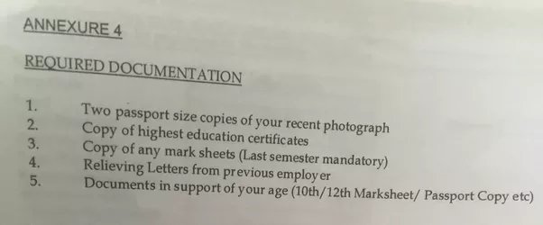 What should be the required documents at the time joining in