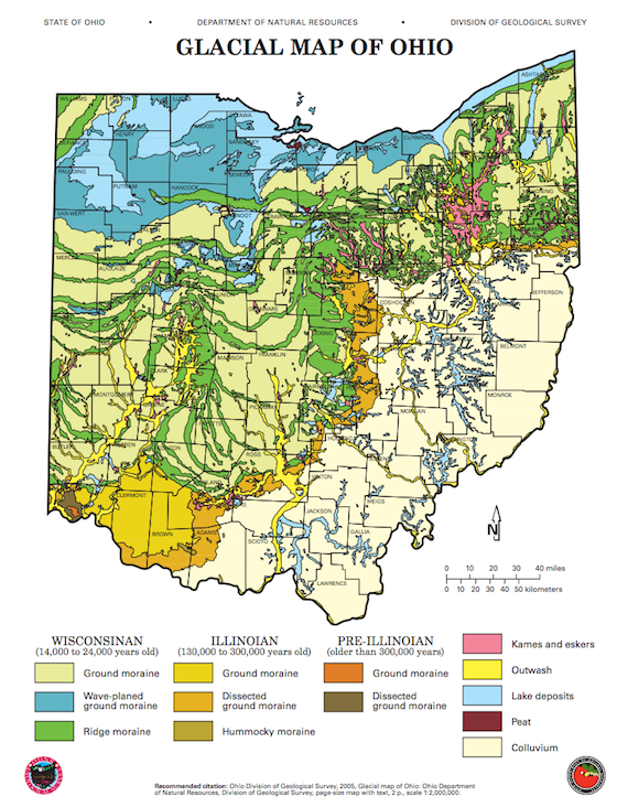 Glacier Map Of Ohio Where can I find examples of glacial moraines in Ohio?   Quora