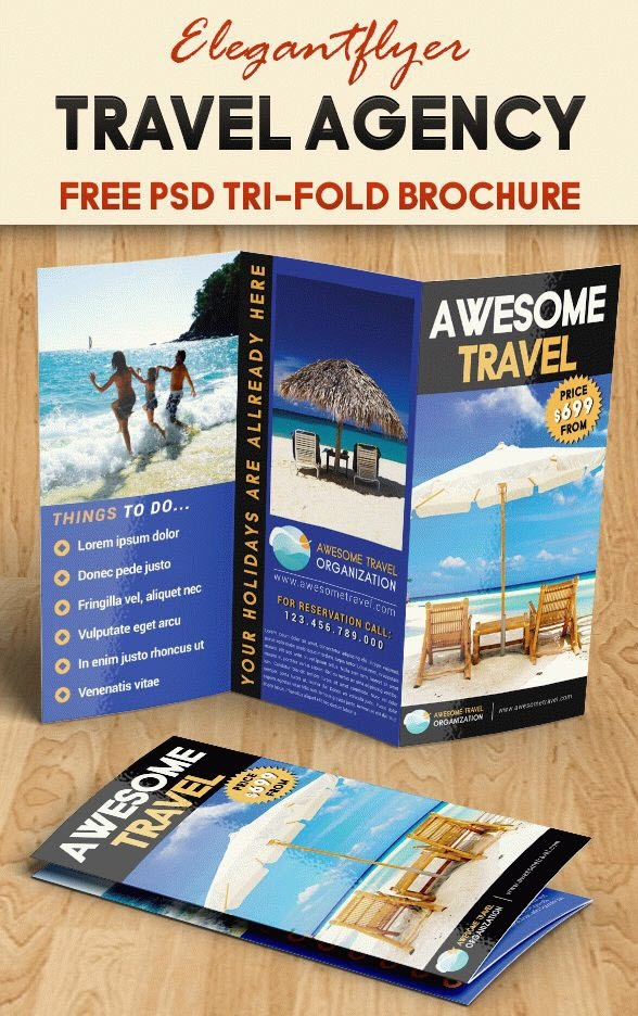 Free Tourism Tri Fold PSD Brochure Template