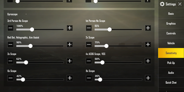 Can you provide me a guide to set my sensitivity in Pubg