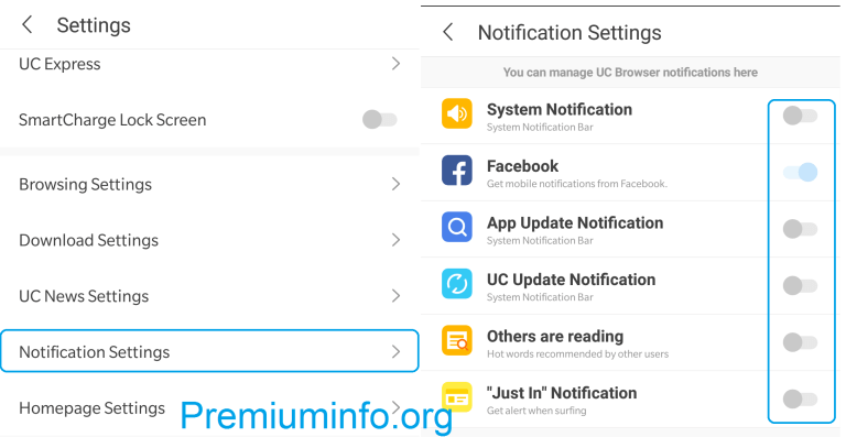 How to stop notifications from UC browser related to news and videos