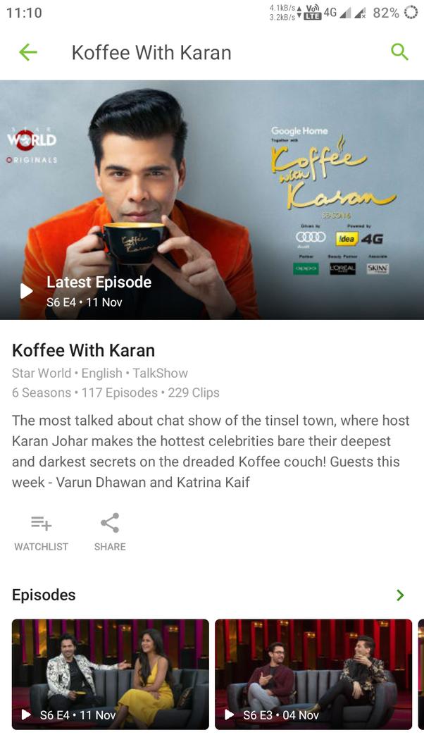 Where can I watch Coffee with Karan Season 6 for free? - Quora