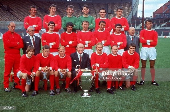 The Manchester United Squad With 1968 European Cup Trophy