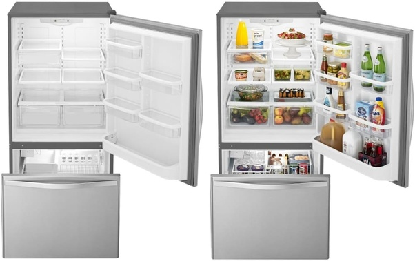 The freezer in a refrigerator is located at the top section