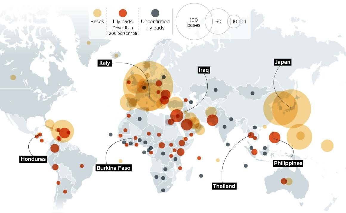 How many military bases does Russia and the US each have outside of