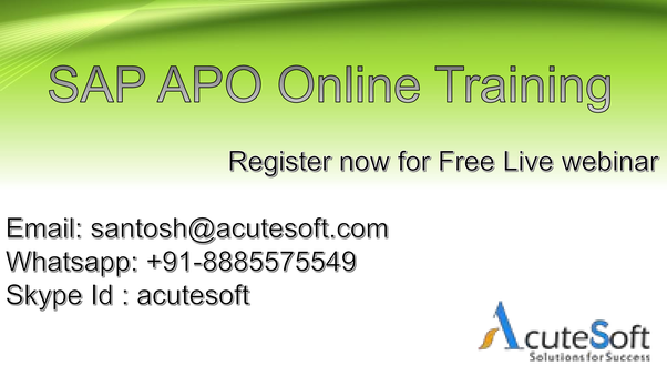 Is there any live webinar or demo on SAP APO online training? - Quora