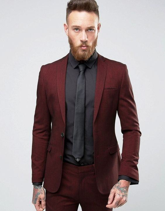 What shirt and tie combinations will go well with a for Black suit burgundy shirt