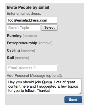 Comment inviter des gens à Quora