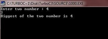 How to find the largest of two numbers using a function and also
