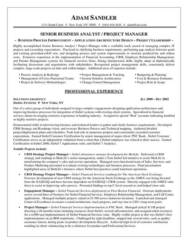 Answer Wiki  Sample Business Analyst Resume